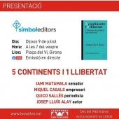 Dijous 9 serem a Girona presentant el llibre d'en #joseplluísalay #5CONTINENTSI1LLIBERTAT amb #jamimatamala #quicosallés #miquelcasals i ##joseplluísalay amb la ##llibrerialesvoltes A les 19 hores a la Plaça del vi.